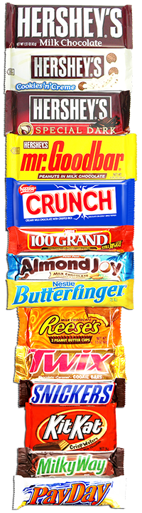 the many brands of Fullsize Chocolate Bars we carry