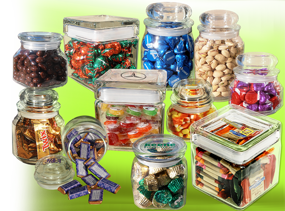 variety of candy-filled glass jars