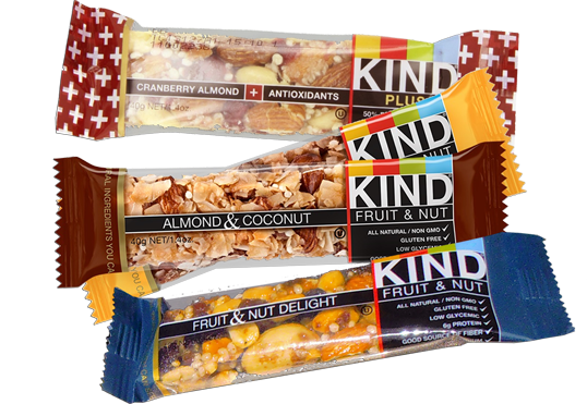 A few examples of Kind Bar flavors we carry