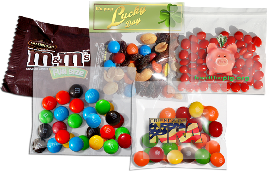 bags with 1-oz candy fills