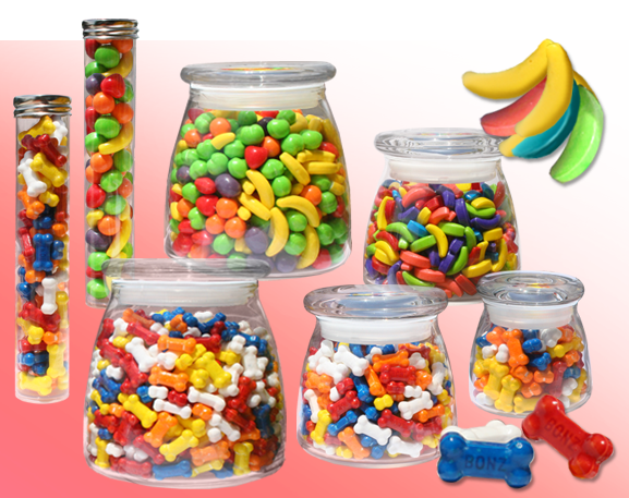 Hard Candies like Runts, Bananas & Bones in Containers