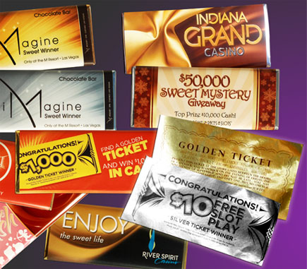 custom wrapped chocolate bars and Golden Tickets