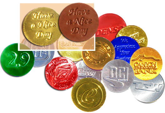 Chocolate foiled embossed coins in 6 colors