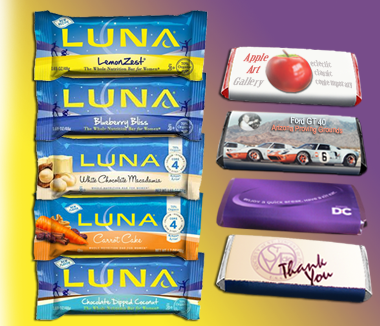 Luna Bars - flavors and wrapped examples