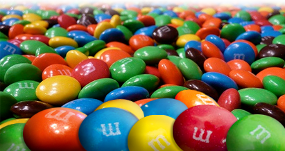 a pile of m&m's