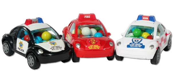 candy-filled emergency vehicle toy cars
