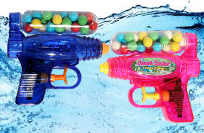 candy-filled waterpistols