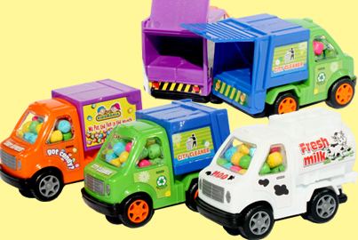 Candy-filled utility trucks